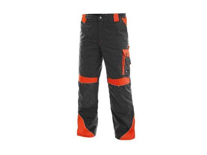 Pánské montérkové kalhoty CXS Sirius Brighton s reflexními prvky, šedé/červené