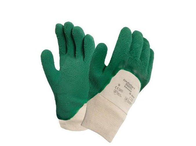 Bavlněné rukavice Ansell polomáčené v kaučuku, zelené/bílé