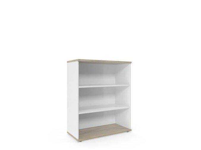 Střední široká skříň Viva, 110 x 90 x 42 cm, otevřená, dub oyster/bílá