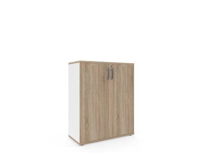 Střední široká skříň Viva, 110 x 90 x 42 cm, s dvířky, dub sonoma/bílá