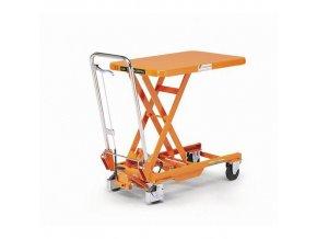 Mobilní hydraulický zvedací stůl Bishamon, do 150 kg, deska 70 x 45 cm