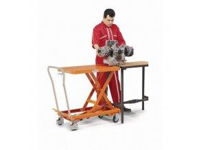 Mobilní hydraulický zvedací stůl Bishamon, do 300 kg, deska 81,5 x 50 cm