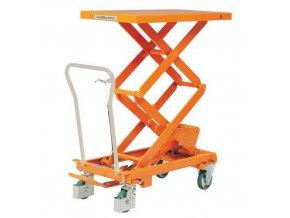 Mobilní hydraulický zvedací stůl Bishamon, do 300 kg, deska 101 x 52 cm