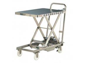 Mobilní hydraulický zvedací stůl Bishamon, do 100 kg, deska 70 x 45 cm