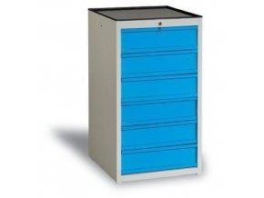 Dílenská zásuvková skříň, 108 x 59 x 62 cm, 6 zásuvek