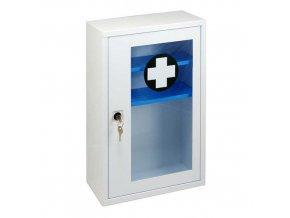 Kovová nástěnná lékárnička s transparentními dvířky, uzamykatelná, 46 x 30 x 14 cm