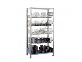 Kovový regál, základní, 200 x 106 x 53,5 cm, 1 100kg, 6 polic, stříbrný