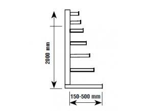 Jednostranný konzolový regál, základní 200 x 270 x 59 cm, 3 240 kg, 18 konzolí