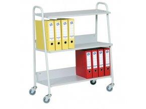 Kancelářský policový vozík, do 120 kg, 3 police