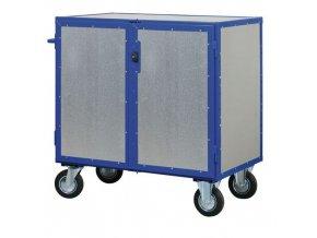 Uzavíratelný skříňový vozík s madlem a plnými stěnami, do 600 kg, 3 police
