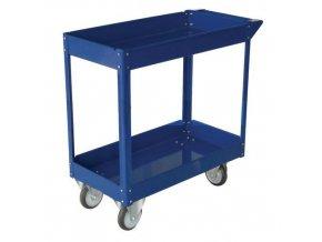 Policový vozík s madlem, do 100 kg, 2 police s vyvýšenými hranami