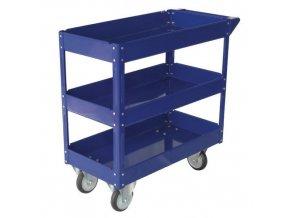 Policový vozík, do 100 kg, 3 police s vyvýšenými hranami