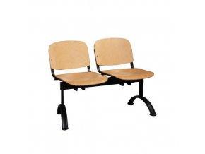 Dřevěná lavice ISO, 2-sedák, černá, buk