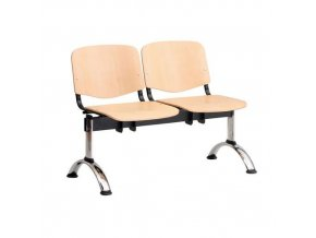 Dřevěná lavice ISO, 2-sedák, chrom, buk