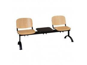 Dřevěná lavice ISO, 2-sedák + stolek, černá, buk