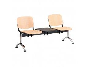 Dřevěná lavice ISO, 2-sedák + stolek, chrom, buk