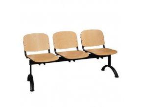 Dřevěná lavice ISO, 3-sedák, černá, buk