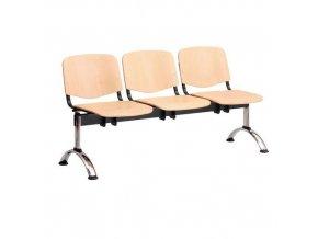 Dřevěná lavice ISO, 3-sedák, chrom, buk