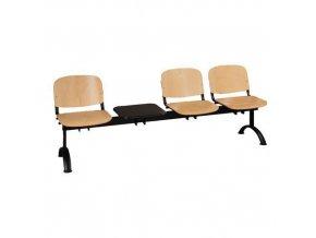 Dřevěná lavice ISO, 3-sedák + stolek, černá, buk