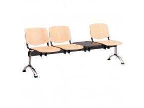 Dřevěná lavice ISO, 3-sedák + stolek, chrom, buk