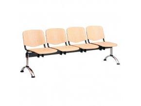 Dřevěná lavice ISO, 4-sedák, chrom, buk