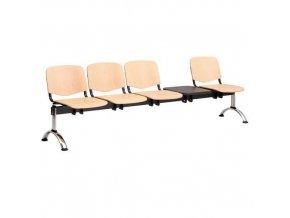 Dřevěná lavice ISO, 4-sedák + stolek, chrom, buk