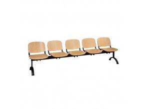 Dřevěná lavice ISO, 5-sedák, černá, buk