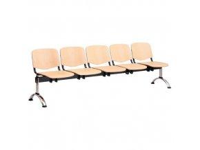 Dřevěná lavice ISO, 5-sedák, chrom, buk