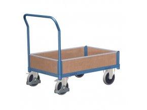 Plošinový vozík s madlem a nízkými plnými bočnicemi, do 400 kg