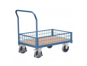Plošinový vozík s madlem a nízkými mřížovými bočnicemi, do 400 kg