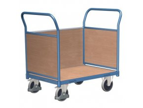 Plošinový vozík se dvěma madly s plnou výplní a boční stěnou, do 400 kg