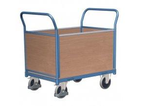 Plošinový vozík se dvěma madly s plnou výplní a bočními stěnami, do 400 kg