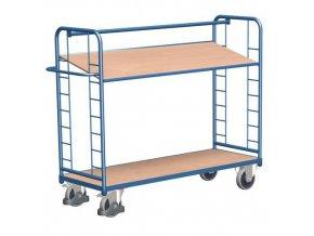Vysoký policový vozík s madlem a šikmými policemi, do 400 kg, 2 police