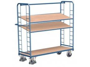 Vysoký policový vozík s madlem a šikmými policemi, do 400 kg, 3 police