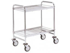 Mřížový policový vozík, do 150 kg, 2 police