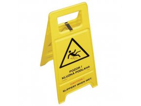 Přenosná výstražná tabule ČJ/AJ - Pozor! Kluzká podlaha