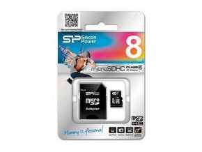 Karta micro SDHC Silicon Power, class 4, 8 GB, adaptér SD