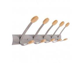 Kovový nástěnný věšák,5 dřevěných háčků