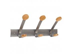 Kovový nástěnný věšák,3 dřevěné háčky