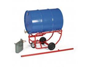 Vozík na sudy, s opěrným kolem a odnímatelnou rukojetí, do 300 kg