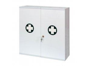 Velkoobjemová kovová nástěnná lékárnička, uzamykatelná, 53 x 53 x 19 cm