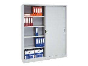 Kovová spisová skříň s posuvnými dveřmi, 8 polic, 200 x 160 x 45 cm