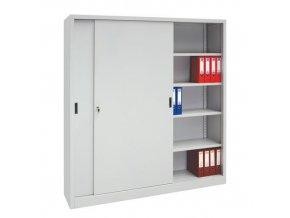 Kovová spisová skříň s posuvnými dveřmi, 8 polic, 200 x 180 x 45 cm
