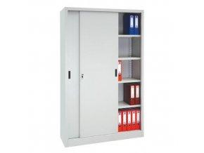 Kovová spisová skříň s posuvnými dveřmi, 4 police, 200 x 120 x 45 cm