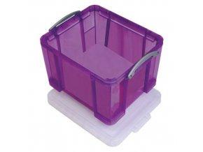 Plastové úložné boxy s víkem na klip, fialové