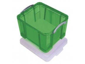 Plastové úložné boxy s víkem na klip, zelené