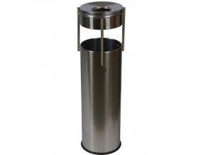 Kovový venkovní odpadkový koš Prestige Pillar s popelníkem, objem 15 l, lesklý nerez
