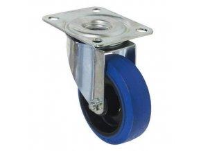 Gumové transportní kolo s přírubou, průměr 100 mm, otočné, valivé ložisko