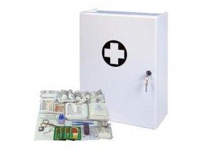 Plastová nástěnná lékárnička, uzamykatelná, 42 x 31 x 15 cm, s náplní KANCELÁŘ