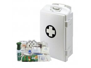 Plastová přenosná nástěnná lékárnička, uzamykatelná, 43 x 28 x 14 cm, s náplní SKLAD